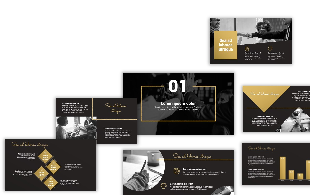 Sydney Black And Gold Free Powerpoint Template Slides Gallery