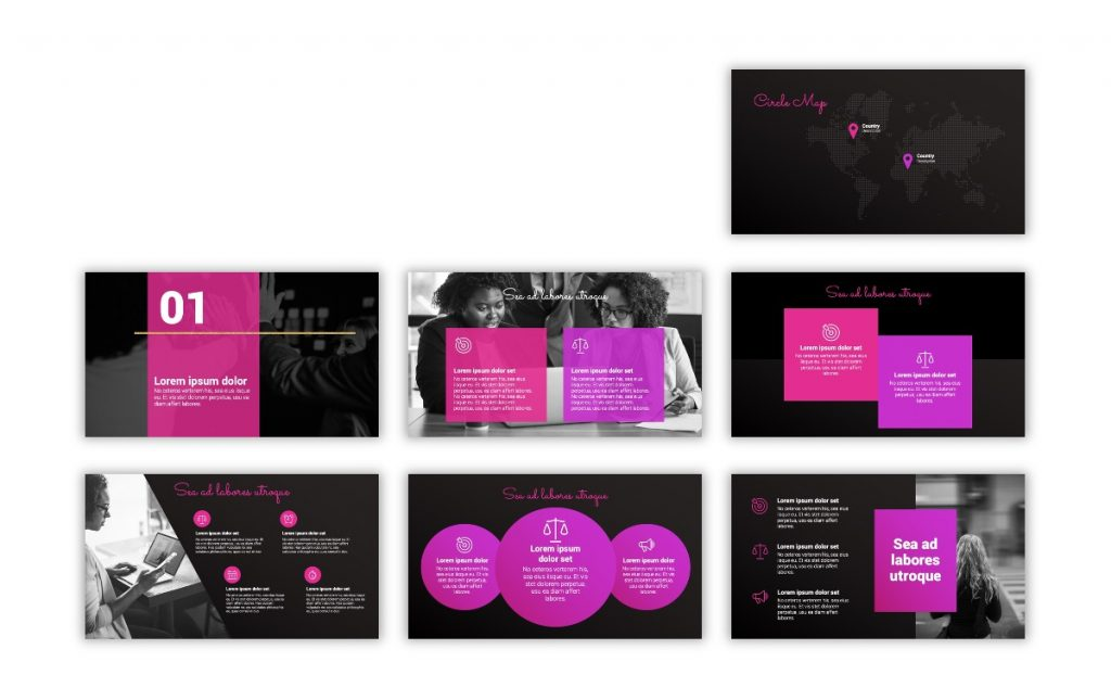 Syndey Black and Pink Free PowerPoint Template