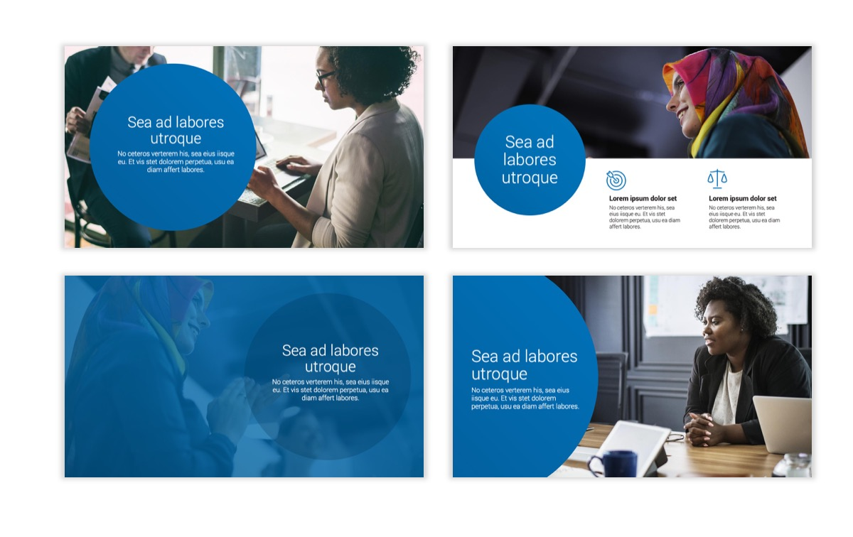Circles PPT Template - Professional - Blue - Monochromatic - Business - Professional Slide2