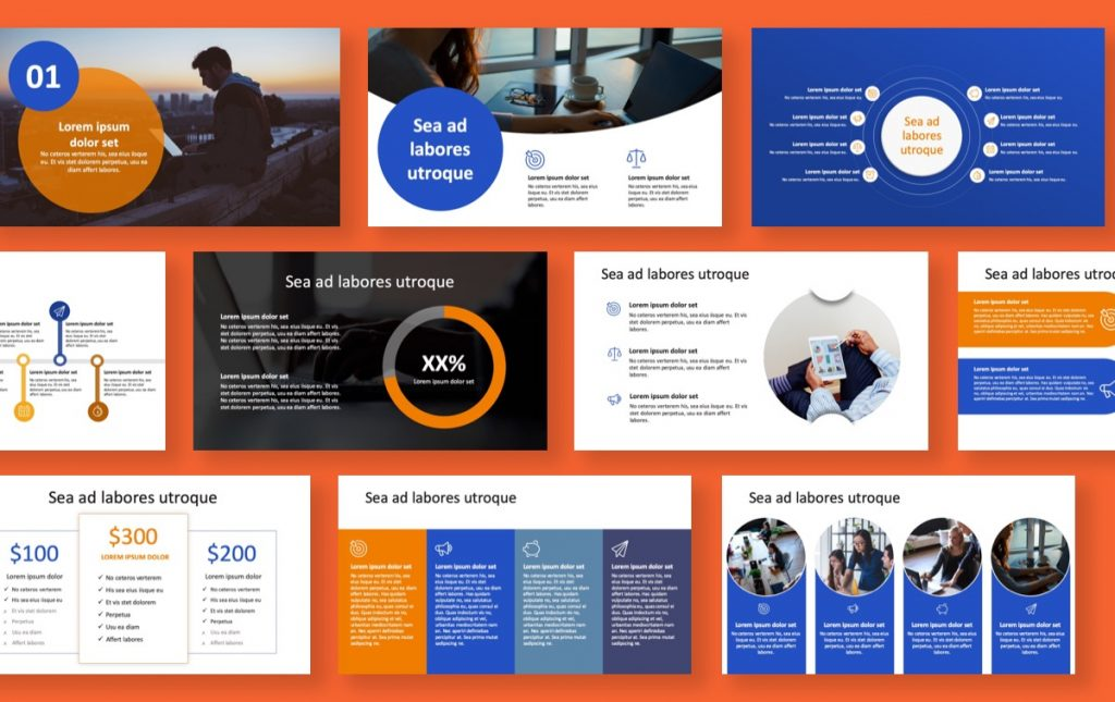 London Circles Blue and Orange Professional PowerPoint Template