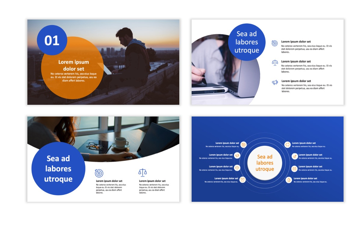 Circles PPT Template - Professional - Blue - Orange - Business - Professional Slide2