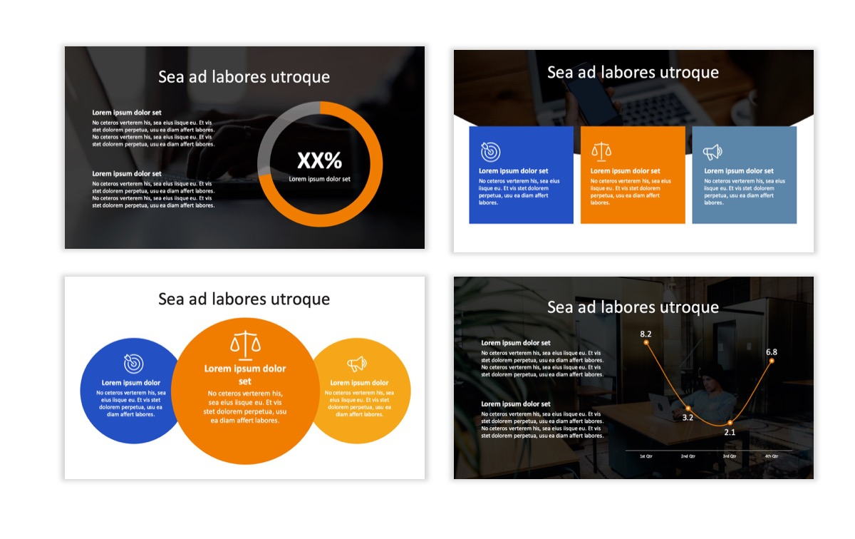 Circles PPT Template - Professional - Blue - Orange - Business - Professional Slide3
