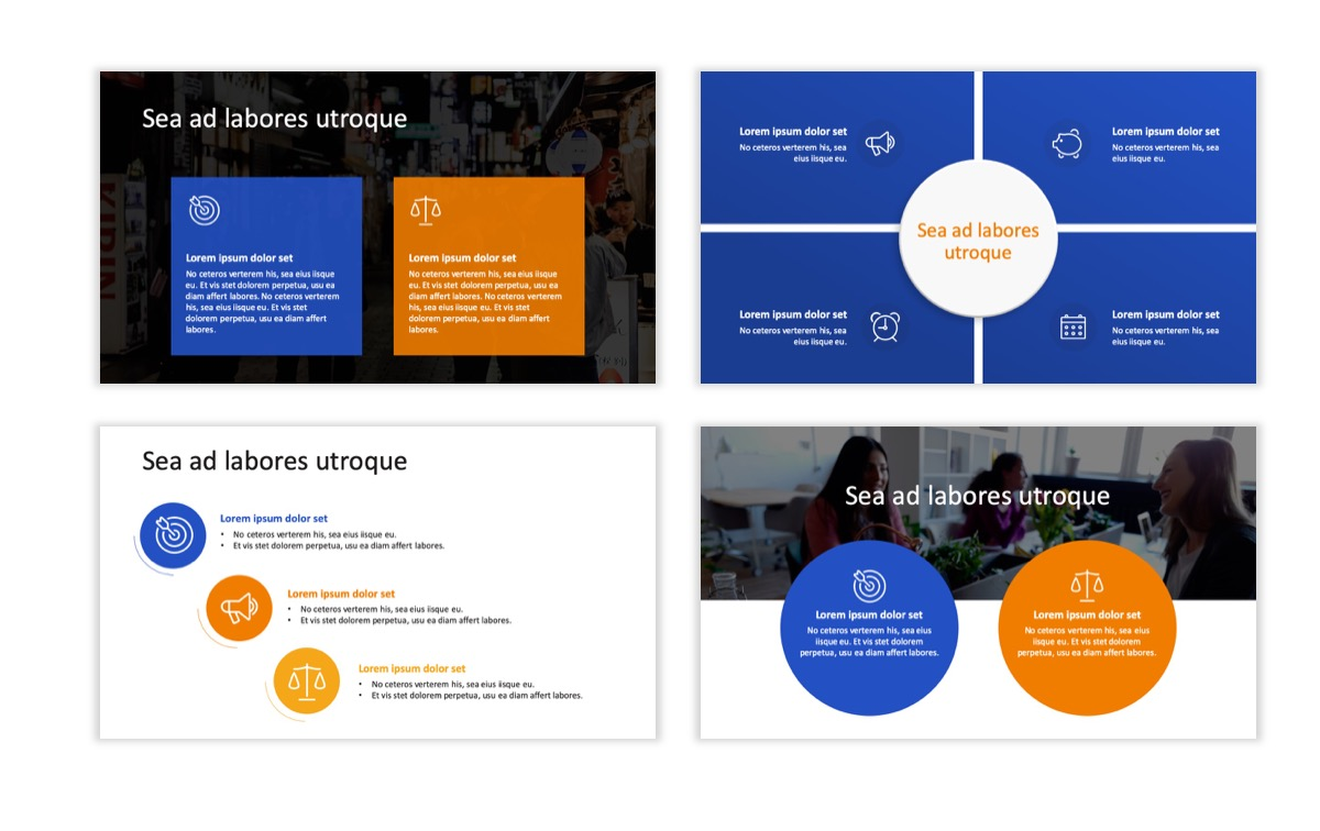 Circles PPT Template - Professional - Blue - Orange - Business - Professional Slide6