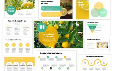LONDON CIRCLES LEMON YELLOW PROFESSIONAL POWERPOINT TEMPLATE