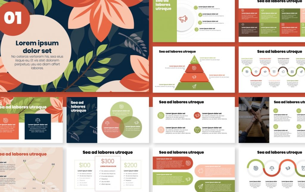 London Circles Navy Floral Professional PowerPoint Template