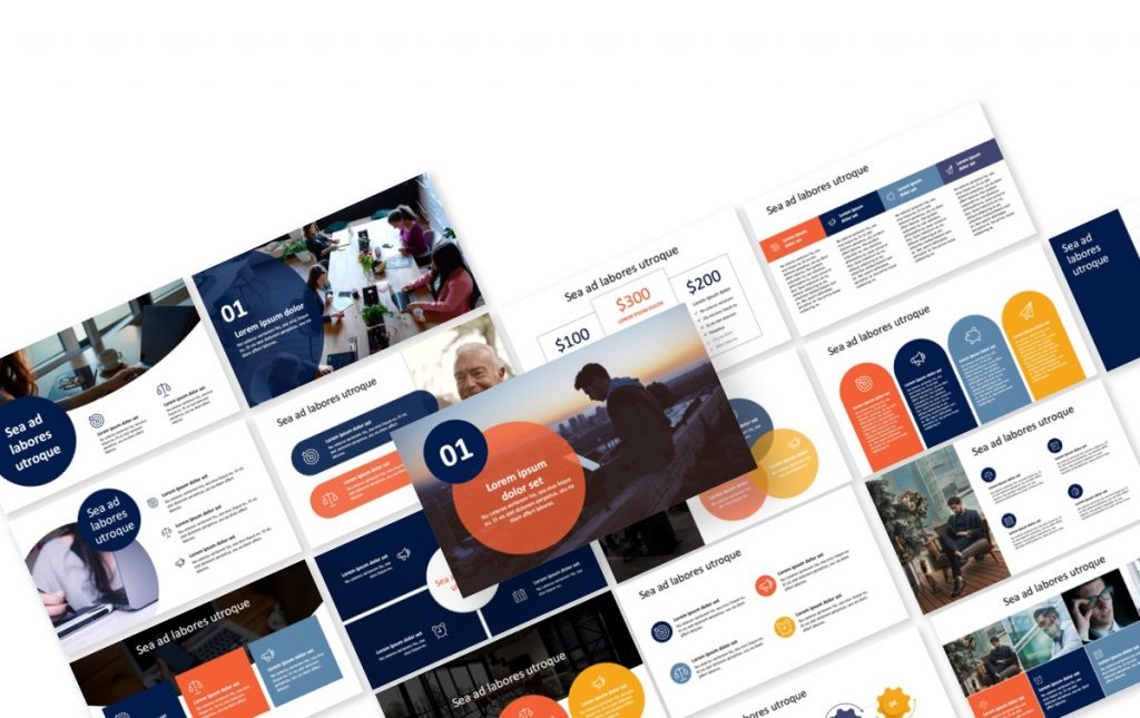 London Circles Navy and Orange Professional PowerPoint Template