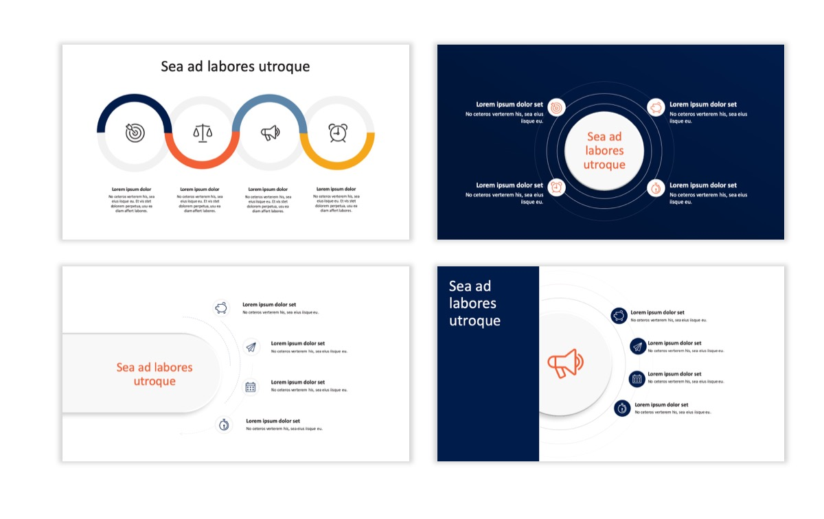 Circles PPT Template - Professional - Navy - Orange - Business - Professional Slide17