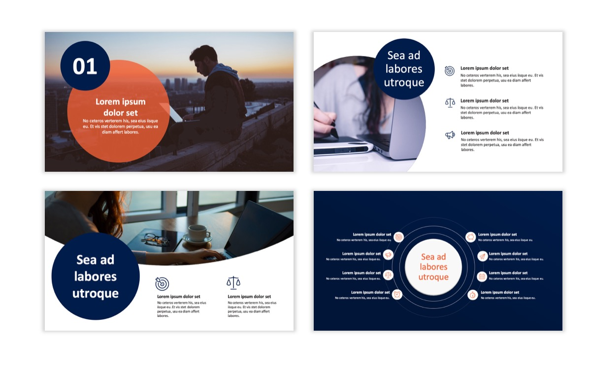 Circles PPT Template - Professional - Navy - Orange - Business - Professional Slide2