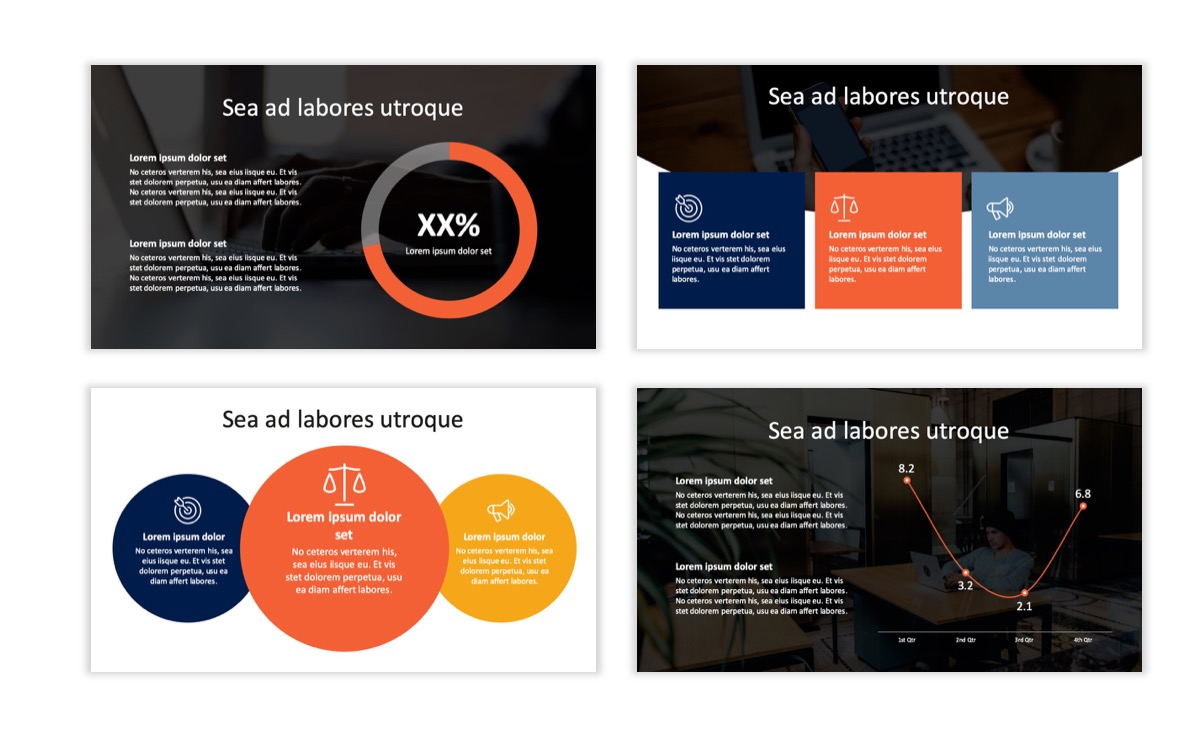 Circles PPT Template - Professional - Navy - Orange - Business - Professional Slide3