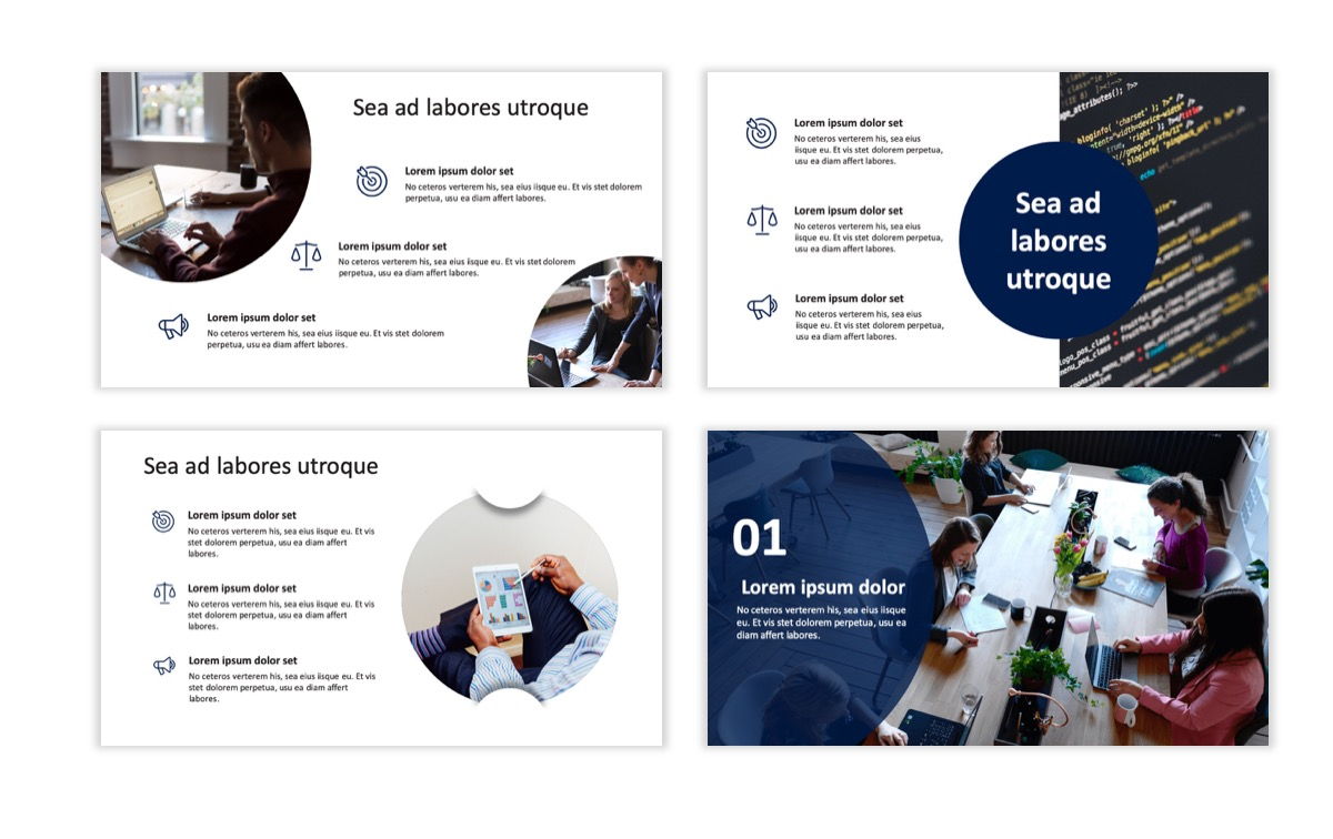 Circles PPT Template - Professional - Navy - Orange - Business - Professional Slide4