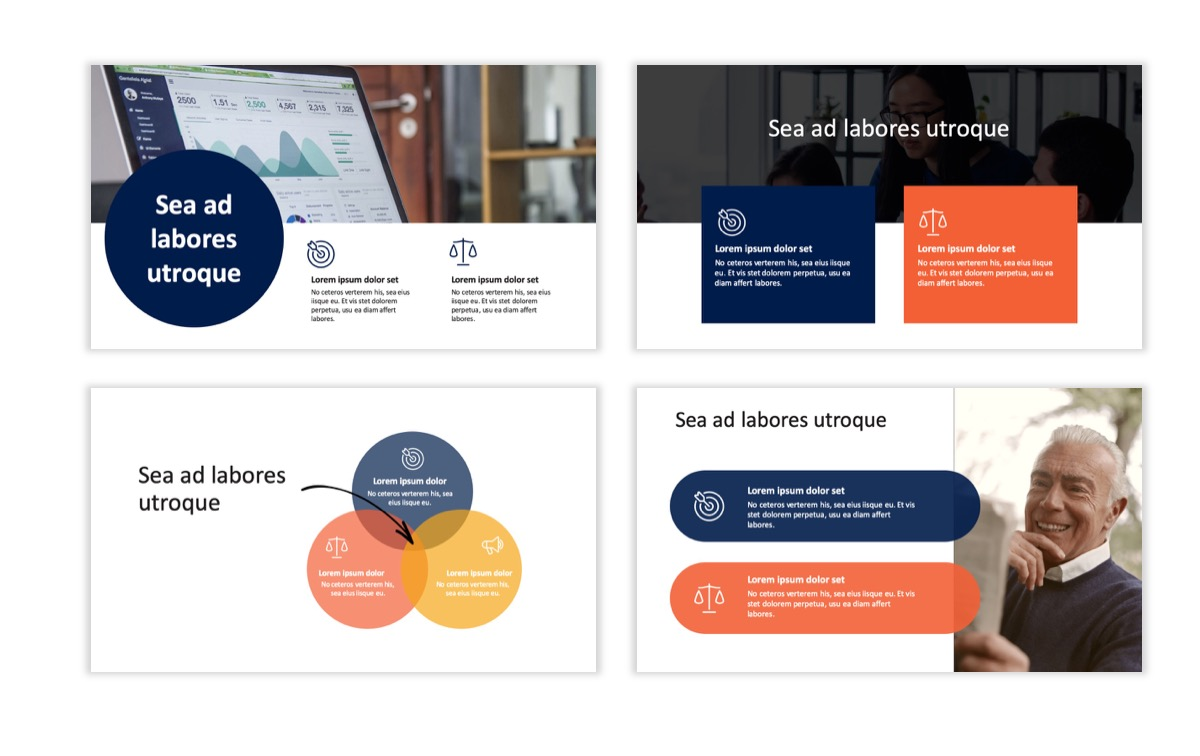 Circles PPT Template - Professional - Navy - Orange - Business - Professional Slide5