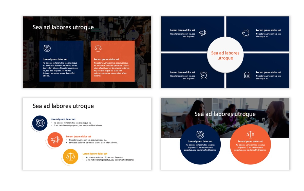 Circles PPT Template - Professional - Navy - Orange - Business - Professional Slide6