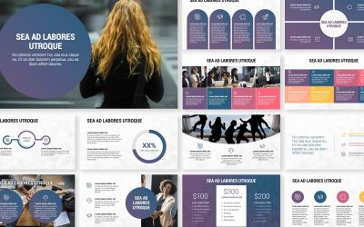LONDON CIRCLES NAVY AND PURPLE PROFESSIONAL POWERPOINT TEMPLATE