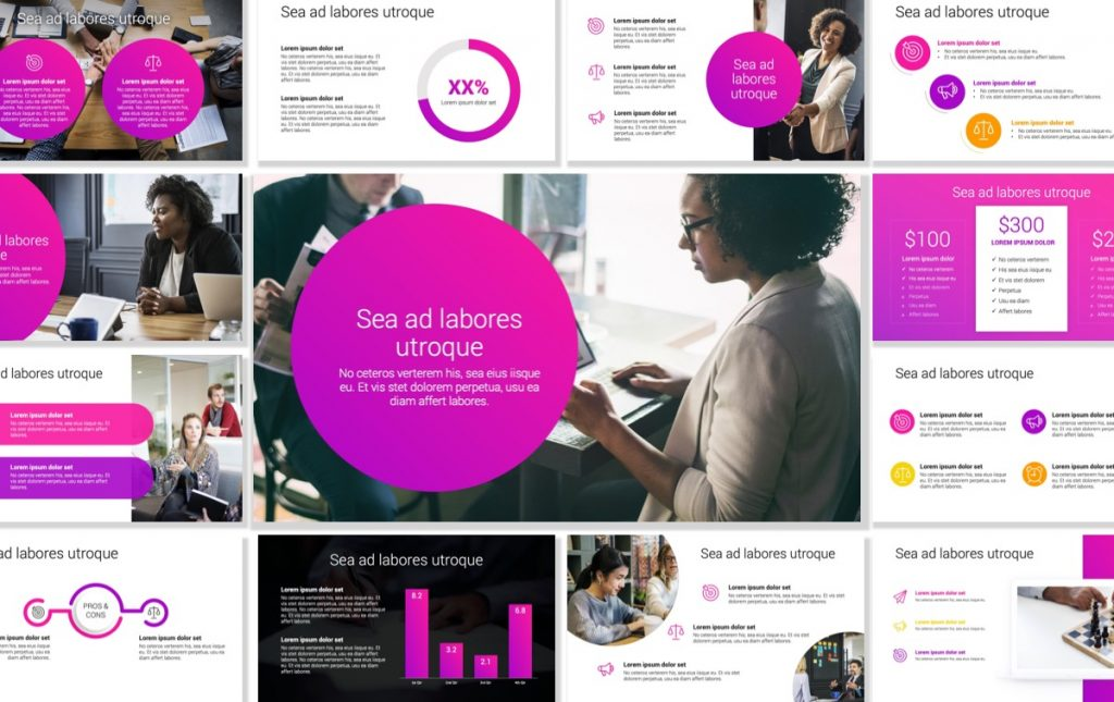 London Circles Bright Pink Professional PowerPoint Template