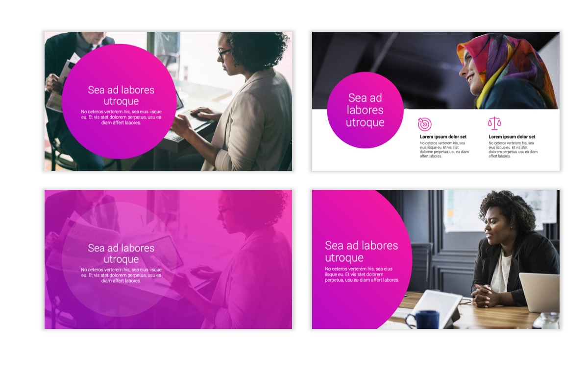 Circles PPT Template - Professional - Pink - Purple - Bright - Business - Professional Slide2