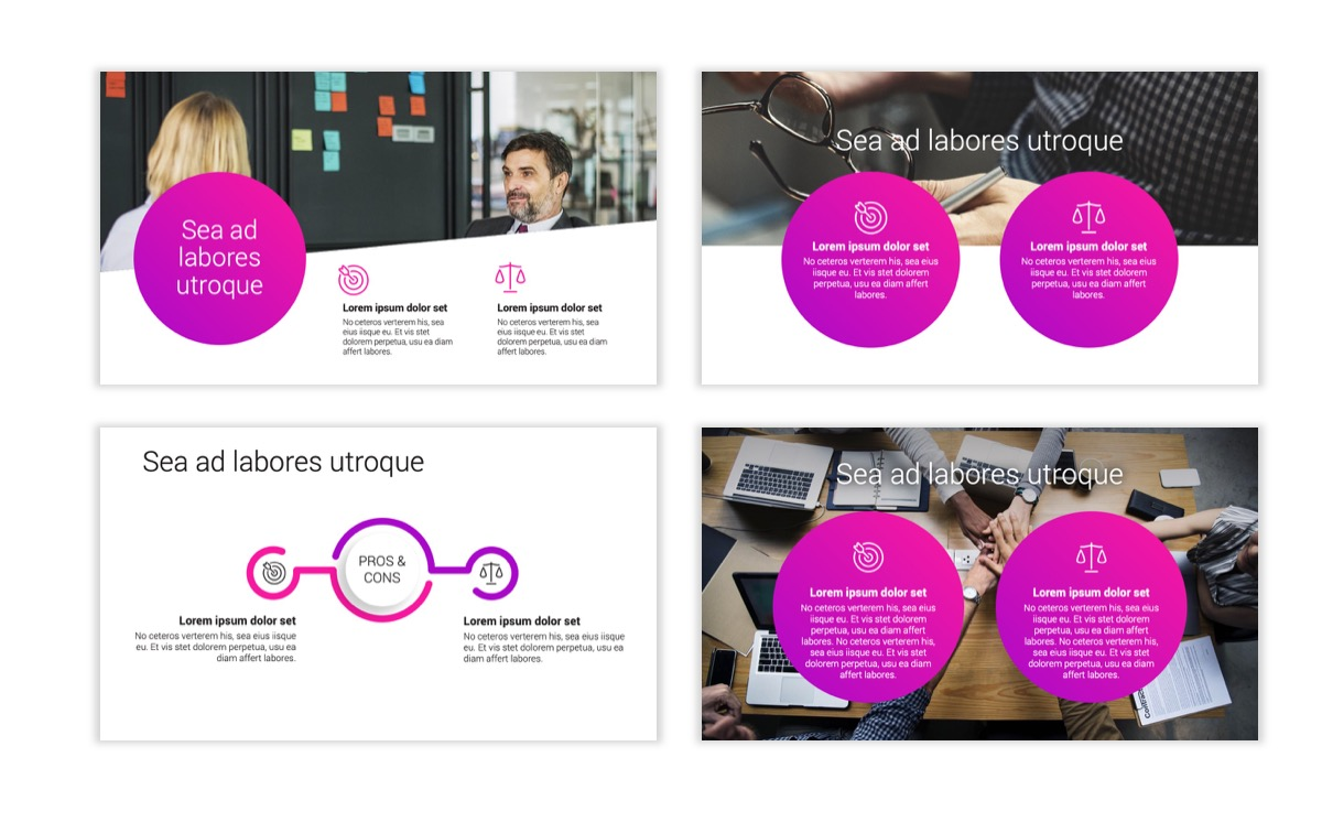 Circles PPT Template - Professional - Pink - Purple - Bright - Business - Professional Slide3