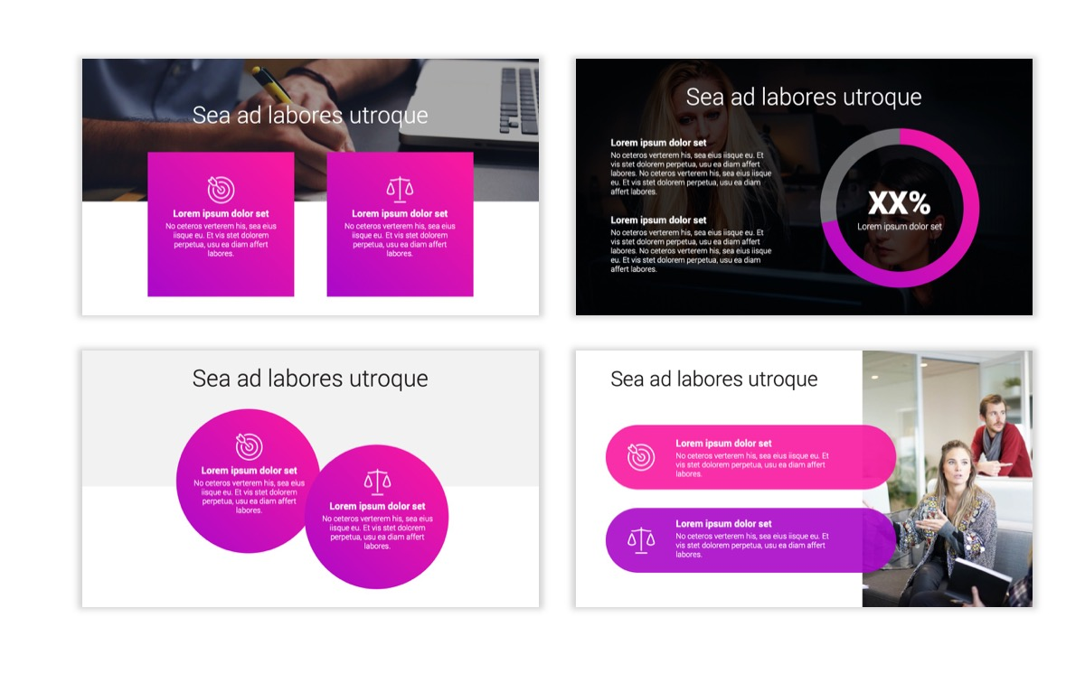 Circles PPT Template - Professional - Pink - Purple - Bright - Business - Professional Slide4