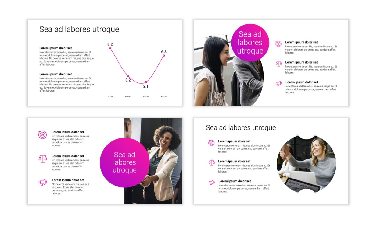 Circles PPT Template - Professional - Pink - Purple - Bright - Business - Professional Slide6
