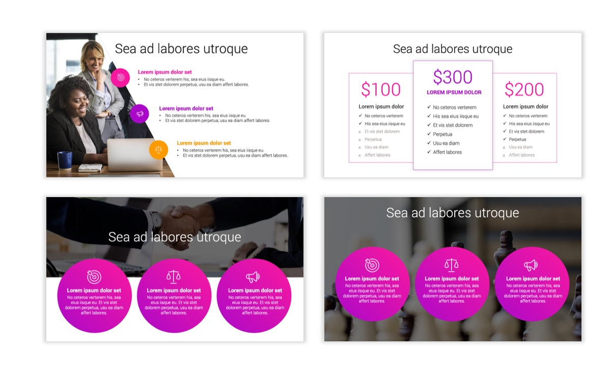 Circles PPT Template - Professional - Pink - Purple - Bright - Business - Professional Slide8
