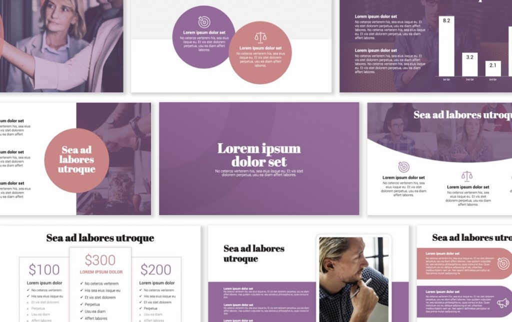 London Circles Purple and Pink Professional PowerPoint Template