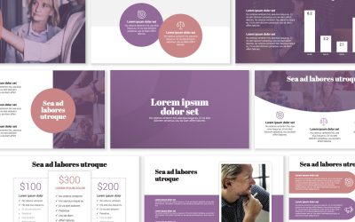 LONDON CIRCLES PINK AND PURPLE PROFESSIONAL POWERPOINT TEMPLATE