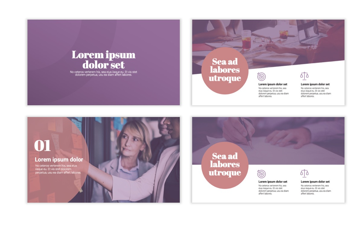Circles PPT Template - Professional - Pink - Purple - Business - Professional Slide2