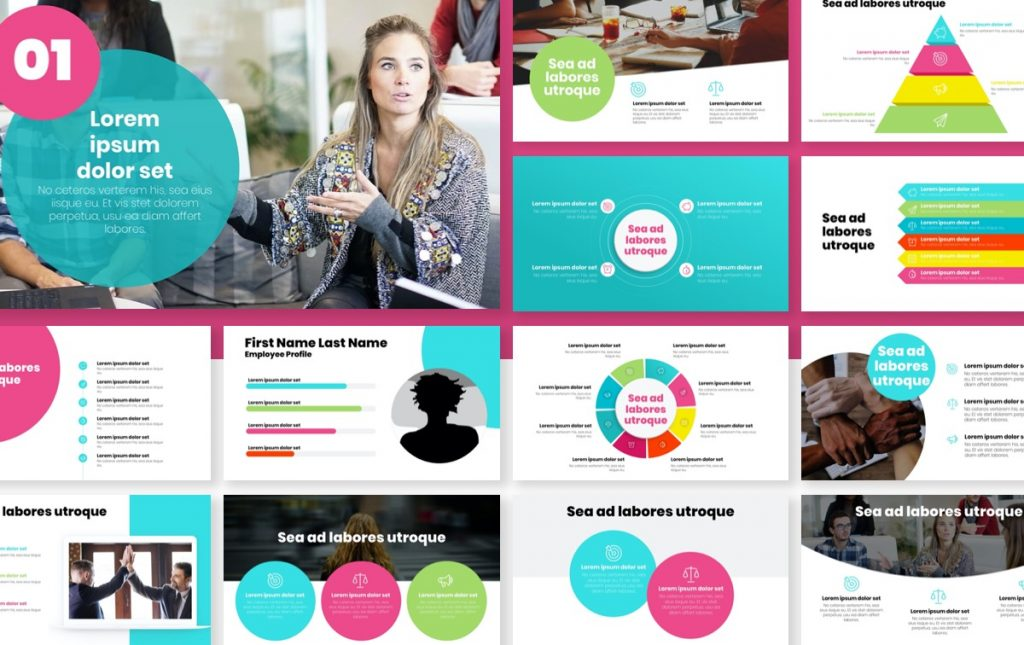 London Circles Teal and Pink Professional PowerPoint Template