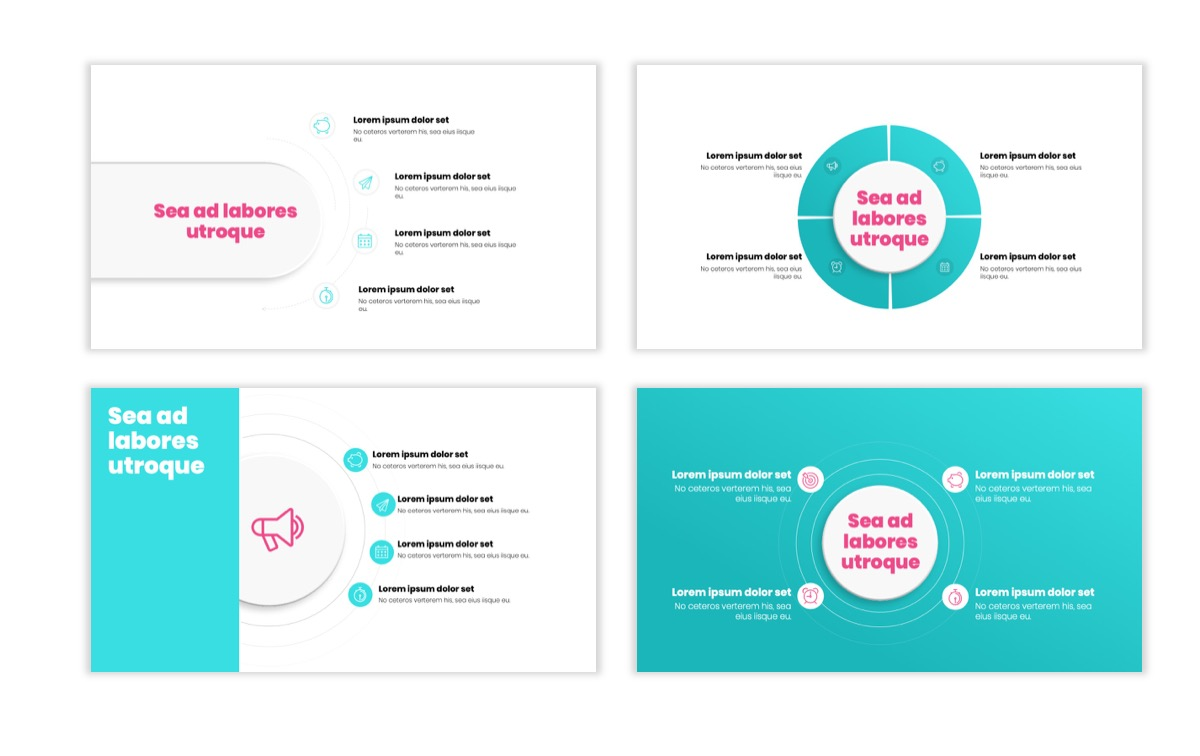 Circles PPT Template - Professional - Teal - Pink - Bright - Business - Professional Slide16