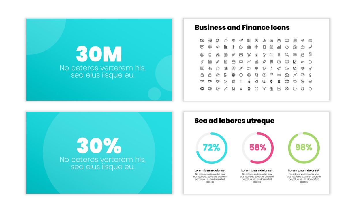 Circles PPT Template - Professional - Teal - Pink - Bright - Business - Professional Slide26