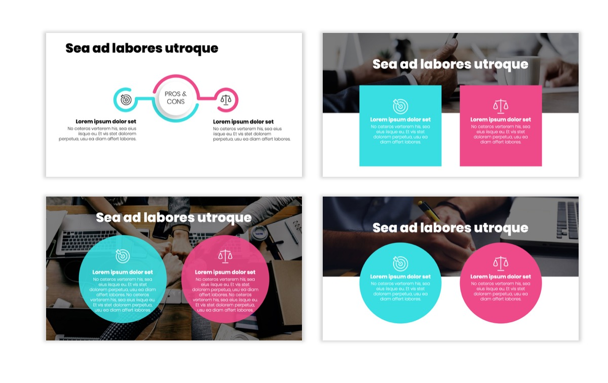 Circles PPT Template - Professional - Teal - Pink - Bright - Business - Professional Slide3
