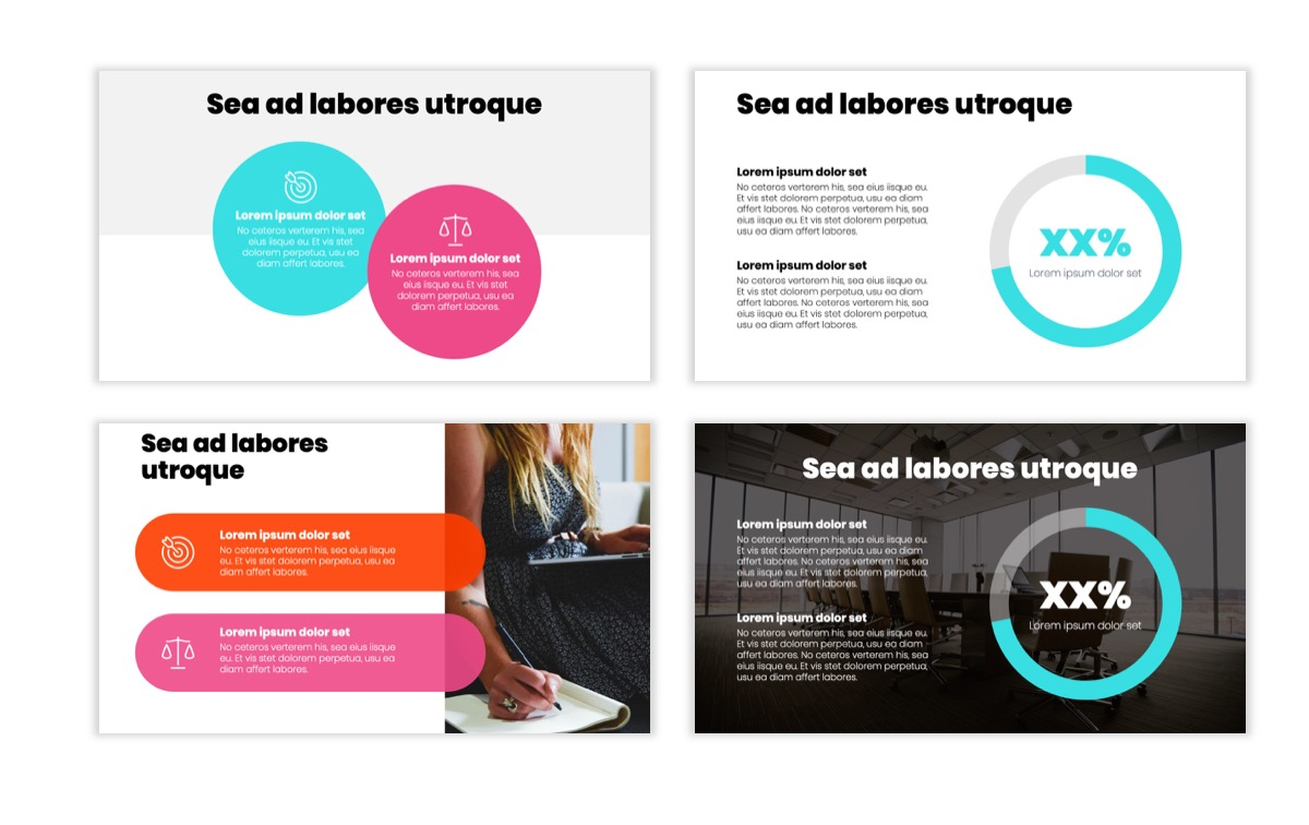 Circles PPT Template - Professional - Teal - Pink - Bright - Business - Professional Slide4