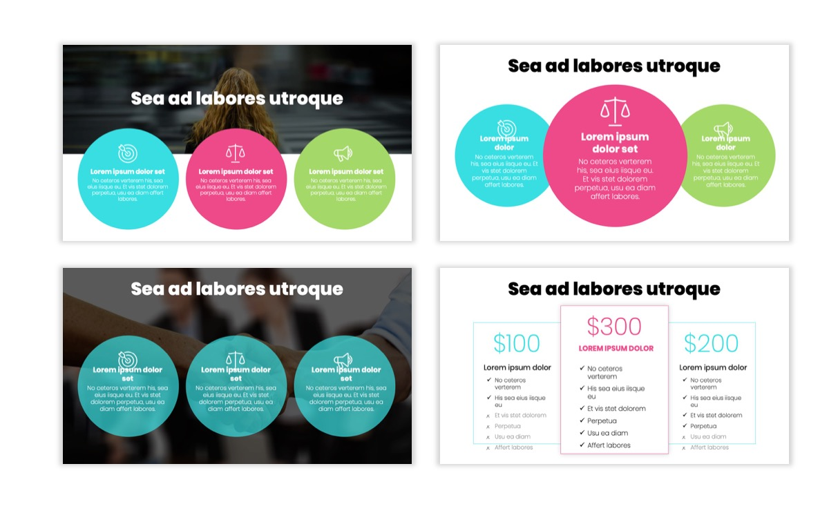 Circles PPT Template - Professional - Teal - Pink - Bright - Business - Professional Slide8