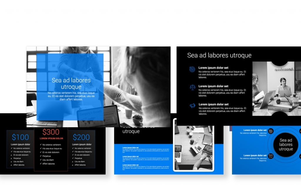 Dark Toronto Minimal Bright Blue PowerPoint Template