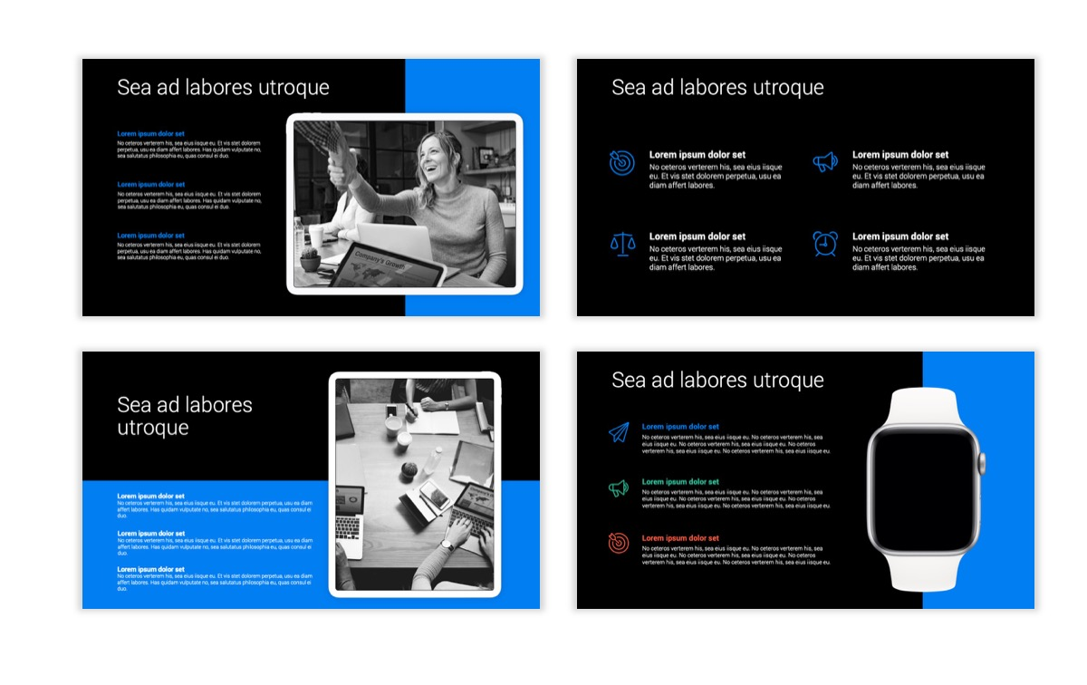 Dark Minimal PPT Templates - Blue - Bright - Business - Professional Slide10