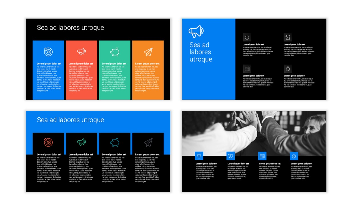 Dark Minimal PPT Templates - Blue - Bright - Business - Professional Slide13