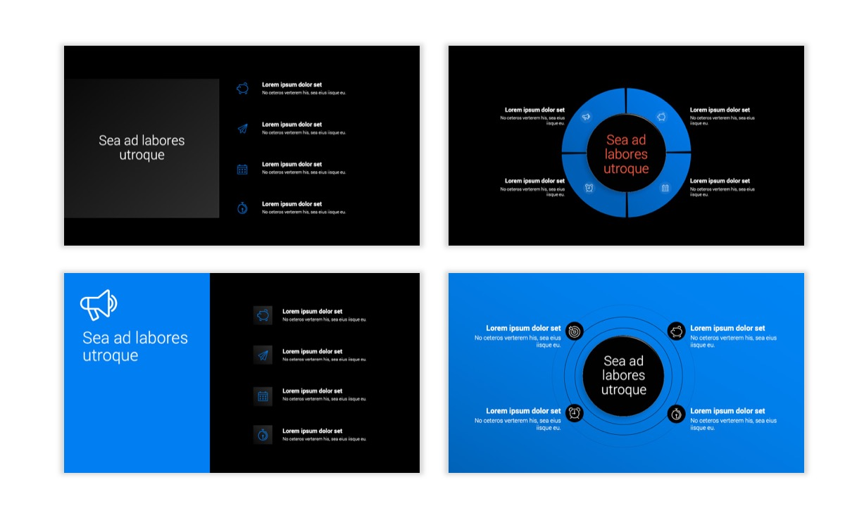 Dark Minimal PPT Templates - Blue - Bright - Business - Professional Slide15