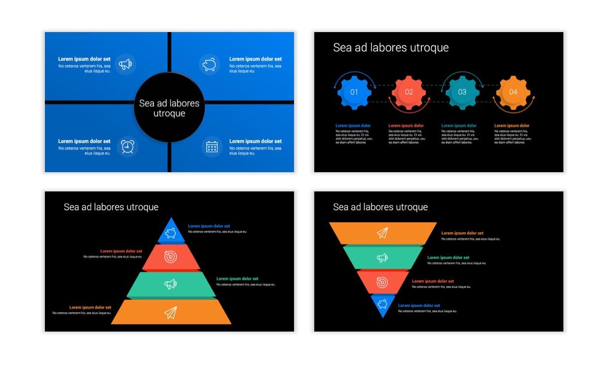 Dark Minimal PPT Templates - Blue - Bright - Business - Professional Slide16
