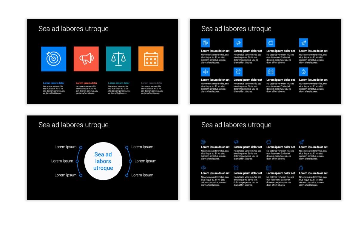Dark Minimal PPT Templates - Blue - Bright - Business - Professional Slide17