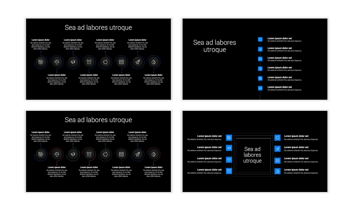 Dark Minimal PPT Templates - Blue - Bright - Business - Professional Slide20