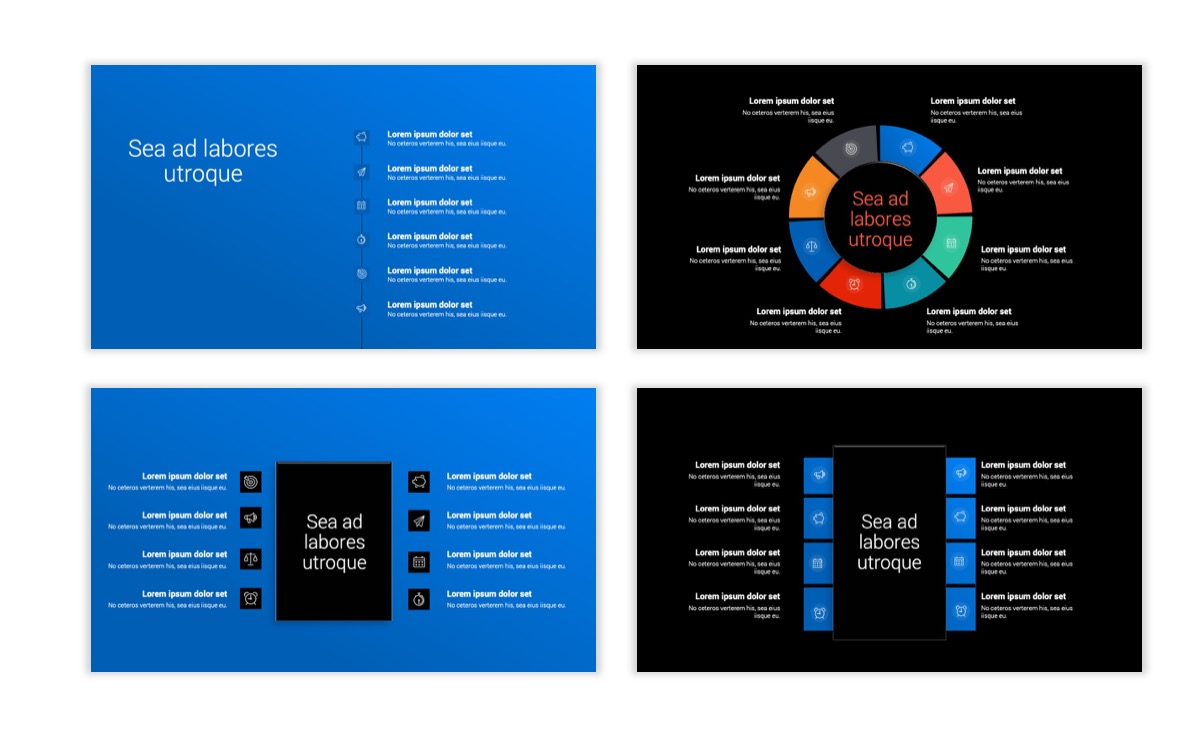 Dark Minimal PPT Templates - Blue - Bright - Business - Professional Slide21
