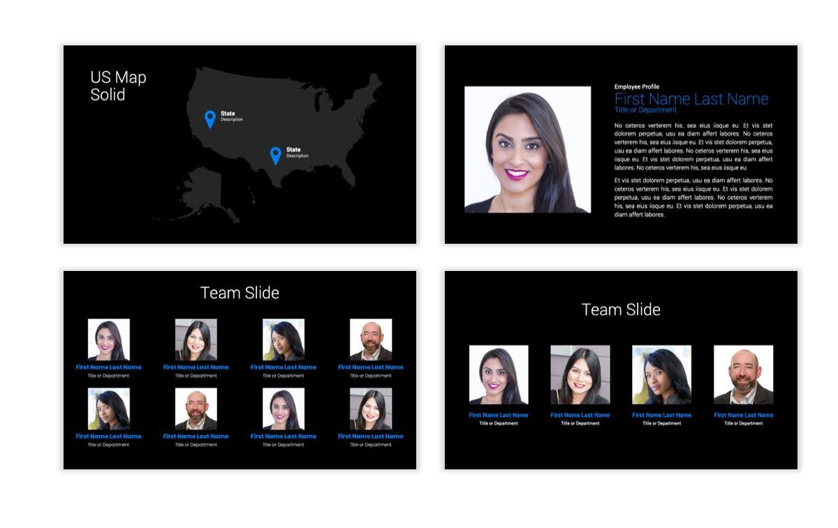 Dark Minimal PPT Templates - Blue - Bright - Business - Professional Slide24