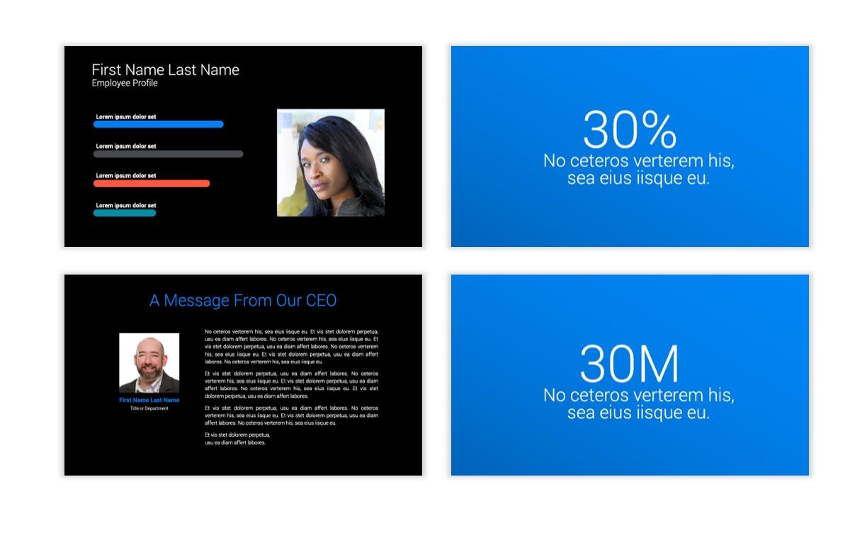 Dark Minimal PPT Templates - Blue - Bright - Business - Professional Slide25