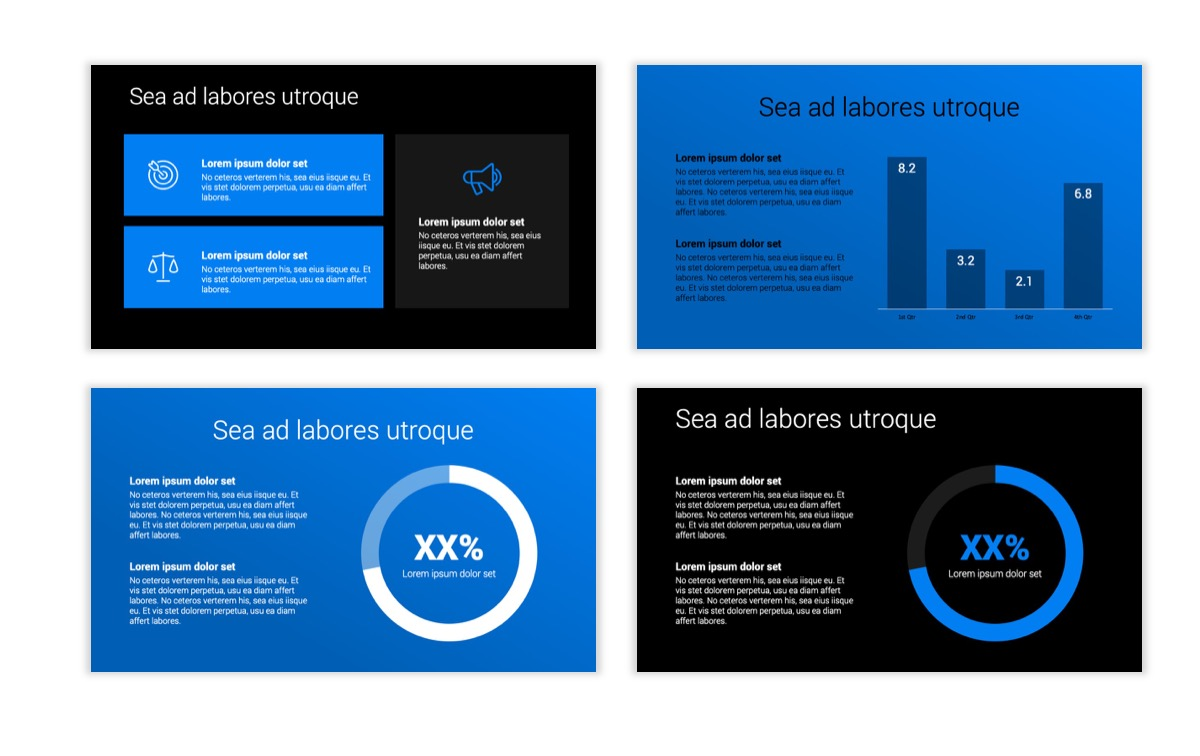 Dark Minimal PPT Templates - Blue - Bright - Business - Professional Slide4
