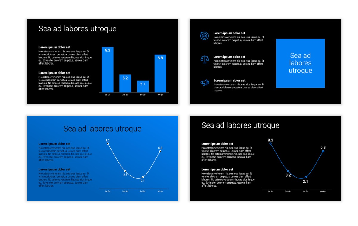 Dark Minimal PPT Templates - Blue - Bright - Business - Professional Slide5