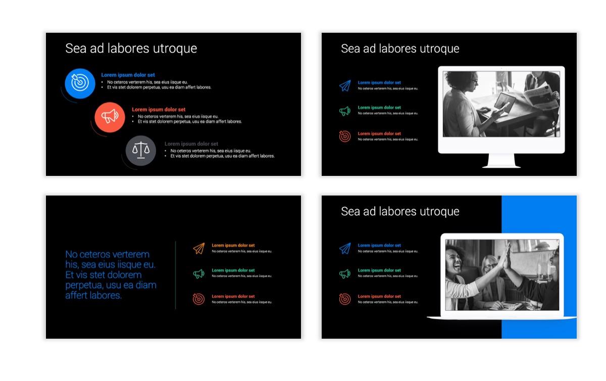 Dark Minimal PPT Templates - Blue - Bright - Business - Professional Slide9