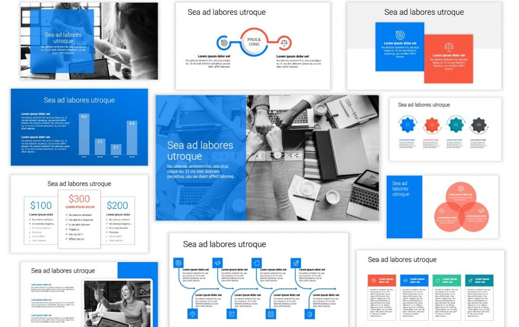 Toronto Minimal Bright Blue Professional PowerPoint Template