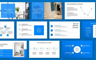 TORONTO MINIMAL BRIGHT BLUE MONOCHROMATIC POWERPOINT TEMPLATE