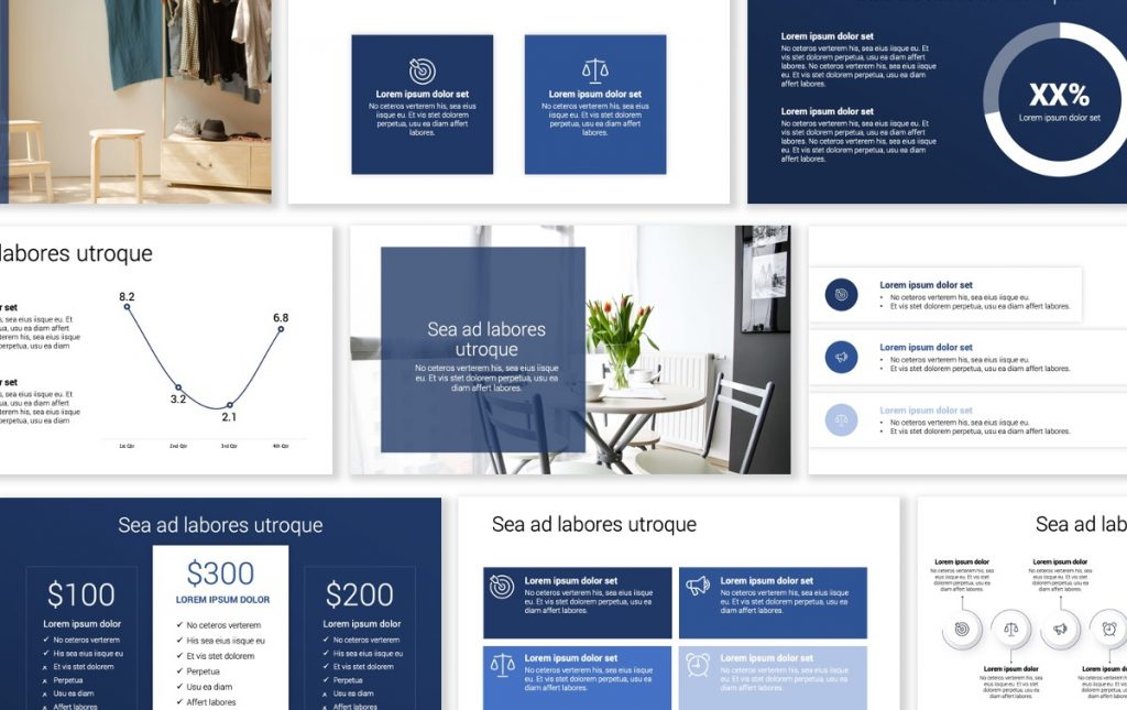 Toronto Minimal Navy Blue Monochrome PowerPoint Template