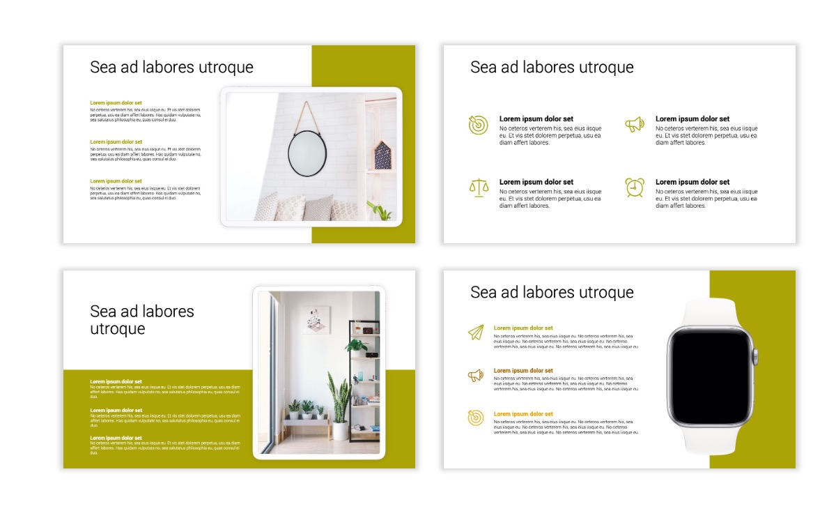 Minimal PPT Templates - Olive Green - Colorful - Interior Design - Real Estate Slide10