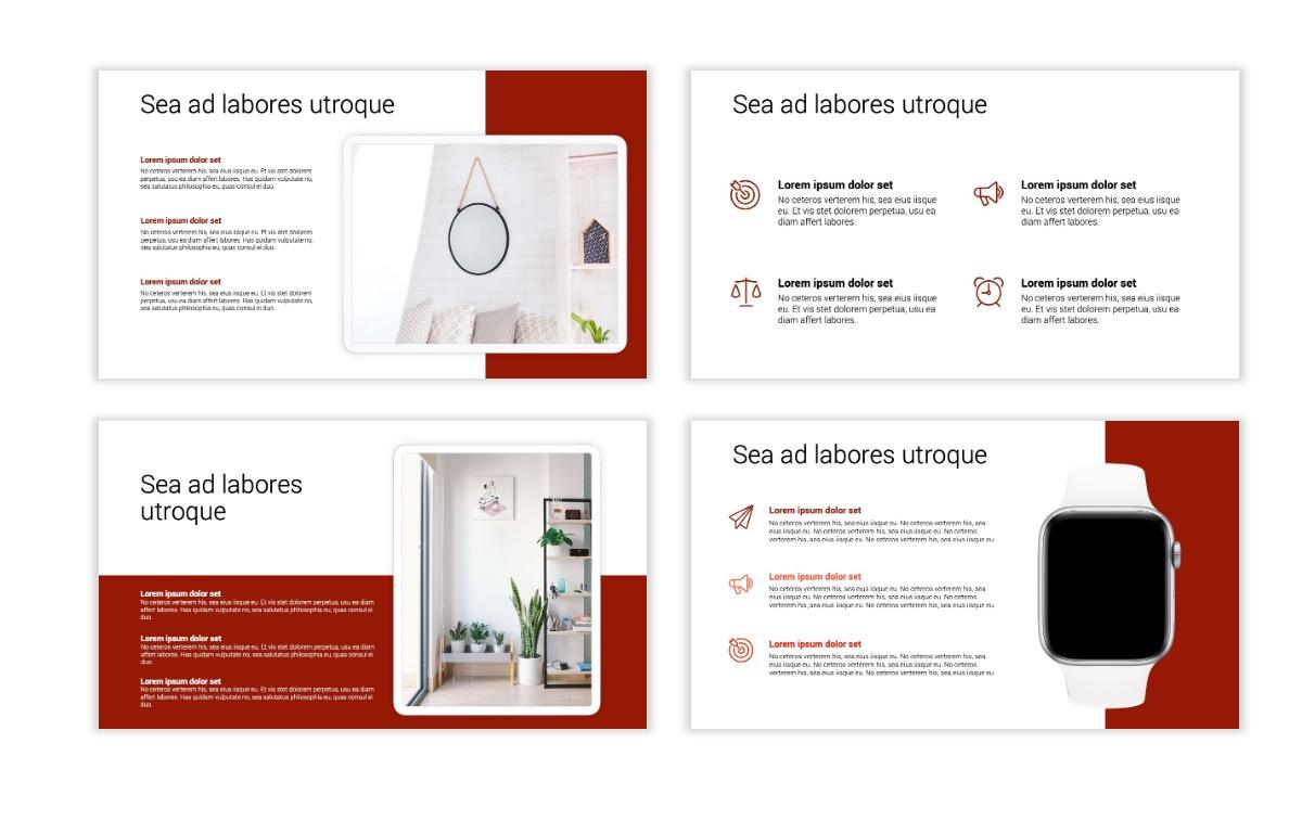 Minimal PPT Templates - Red - Monochrome - Interior Design - Real Estate Slide10